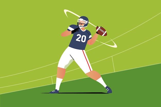 Amerikanische fußballspielerillustration des flachen entwurfs
