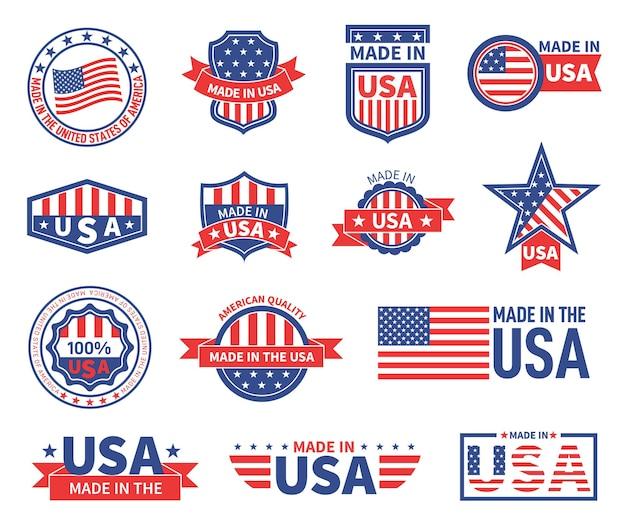 Amerikanische labels gesetzt
