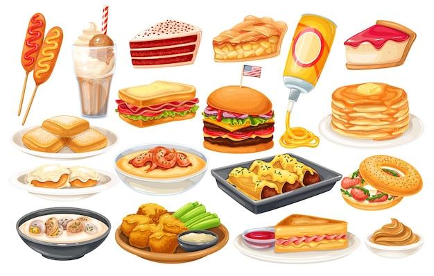 Amerikanische lebensmittelikone. corn dog, muschelsuppe, kekse und soße, apfelkuchen, blt, sandwich und büffelflügel. roter samtkuchen, grütze, monte cristo sandwich, pfannkuchen, ahorn, sprühkäse