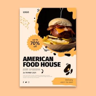 Amerikanische lebensmittelplakatschablone
