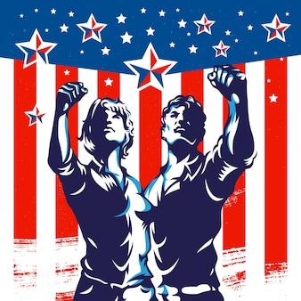Amerikanische männer und frauen protestieren faust-revolution