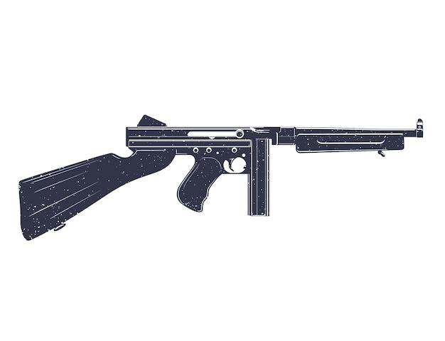 Amerikanische maschinenpistole über weißer grunge-textur kann leicht entfernt werden