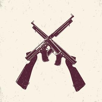 Amerikanische maschinenpistolen, zwei gekreuzte schusswaffen