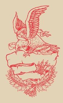 Amerikanische patriotische weißkopfseeadlerillustration