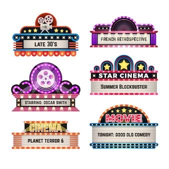 Amerikanische retro- zeichen des motels und des films mit hellem rahmen. weinlesekasino-anschlagtafelvektorsatz