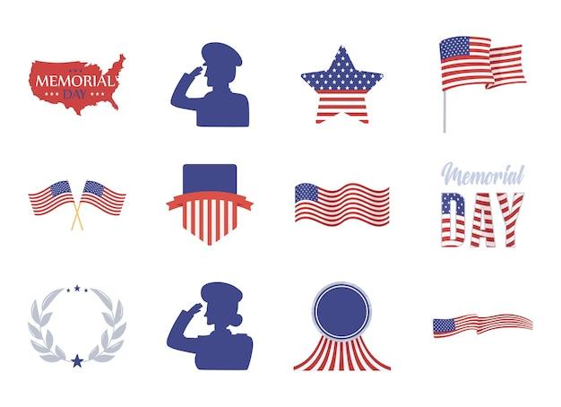 Amerikanische soldatenfahnen am gedenktag
