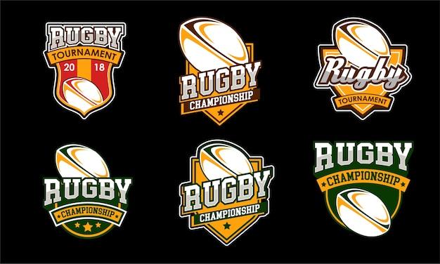 Amerikanische sport rugby logos gesetzt