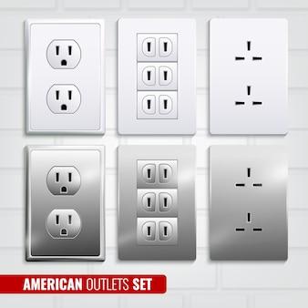 Amerikanische steckdosen set