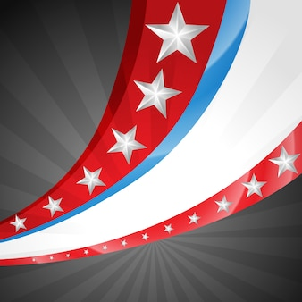 Amerikanische unabhängigkeitstag vektor-flagge im wellenstil