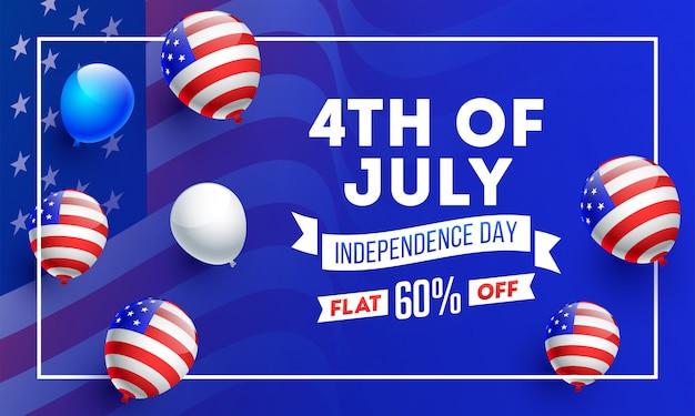 Amerikanische unabhängigkeitstagfahne.