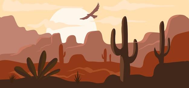 Amerikanische wildwestwüste, heiße prärielandschaftshintergrundfahnen-karikaturillustration. konzept leblose wildnis, adler fliegt in den himmel.