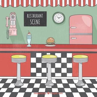 Amerikanischen vintage-restaurant, von hand gezeichnet