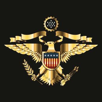 Amerikanischer adler mit usa-flaggen und schildgold