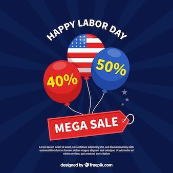 Amerikanischer arbeitstagesverkauf mit flachem design
