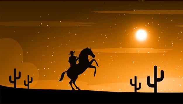 Amerikanischer cowboy mit pferd wild west moon nachtlandschaft hintergrund