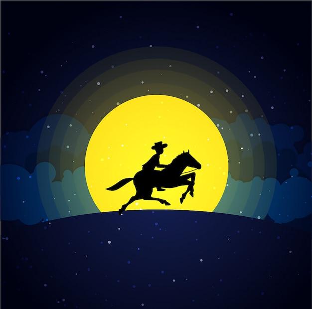 Amerikanischer cowboy mit pferd wilder westmondnachtlandschaftshintergrund