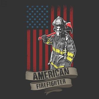 Amerikanischer feuerwehrmann und feuerwehrmann