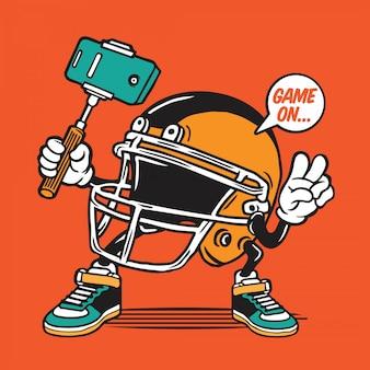 Amerikanischer football-helm selfie character design