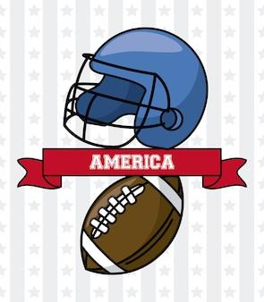 Amerikanischer football-helm und ball usa mit bandfahnenvektor-illustrationsgrafikdesign