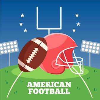 Amerikanischer fußball der flachen entwurfsillustration