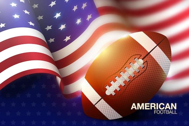 Amerikanischer fußball des realistischen designs mit flagge