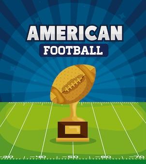 Amerikanischer fußball mit trophäe in der feldillustration