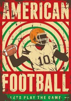 Amerikanischer fußball-rugby-sport-retro pop-kunst-plakat signage Premium Vektoren