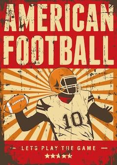 Amerikanischer fußball-rugby-sport-retro pop-kunst-plakat signage