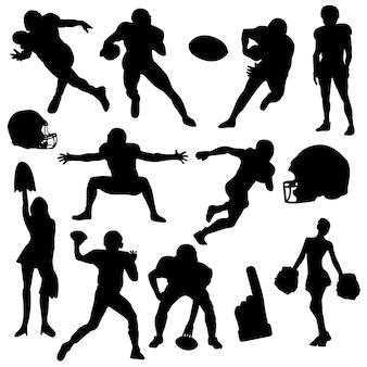 Amerikanischer fußball-rugby-stellen-schattenbild-vektor