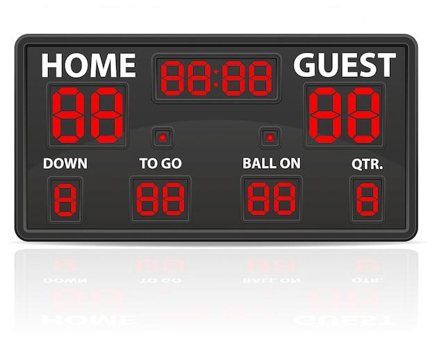 Amerikanischer fußball trägt digitale anzeigetafelvektorillustration zur schau