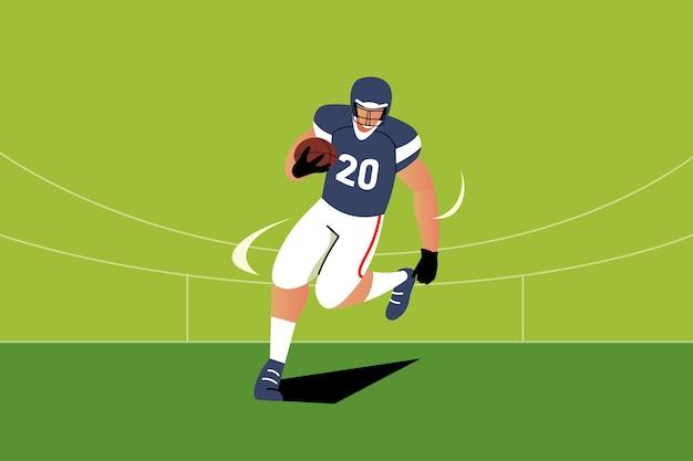 Amerikanischer fußballspieler der flachen entwurfsillustration