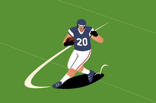 Amerikanischer fußballspieler mit flachem design