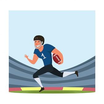 Amerikanischer fußballspieler mit flacher illustration des balls