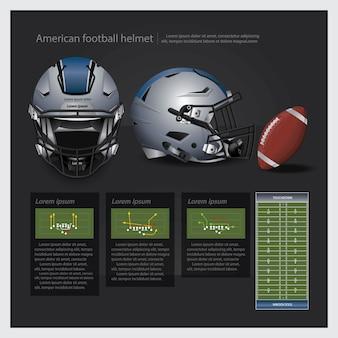 Amerikanischer fußballsturzhelm mit teamplan-vektorillustration