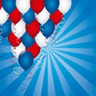 Amerikanischer hintergrund mit ballonvektorabbildung