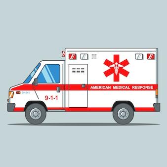 Amerikanischer krankenwagen auf einem grauen hintergrund