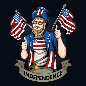 Amerikanischer mann mit schnurrbart und bart, der eine mantelsonnenbrille und einen hut der flagge der vereinigten staaten trägt
