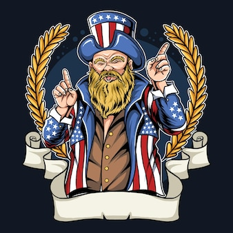 Amerikanischer mann mit schnurrbart und bart, der mantel und hut der flagge der vereinigten staaten trägt.