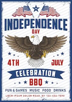 Amerikanischer nationaler vogeladler mit flagge