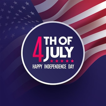 Amerikanischer nationalfeiertag. 4. juli us-flagge mit amerikanischen sternen, streifen und nationalfarben am unabhängigkeitstag.