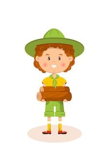 Amerikanischer pfadfinder, kind, das lagerfeuerbalken hält.