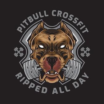 Amerikanischer pitbull mit crossfit barbell badge logo