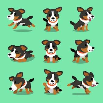 Amerikanischer schäferhund des karikaturcharakters wirft auf