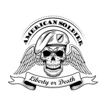 Amerikanischer soldat in baskenmützenvektorillustration. schädel mit flügeln und freiheit oder tod text. militär- oder armeekonzept für embleme oder tätowierungsvorlagen