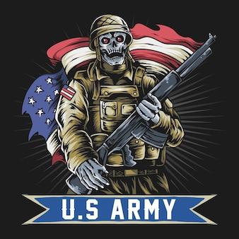 Amerikanischer soldat mit schädelgesicht, das maschinengewehr und usaflagge hält.