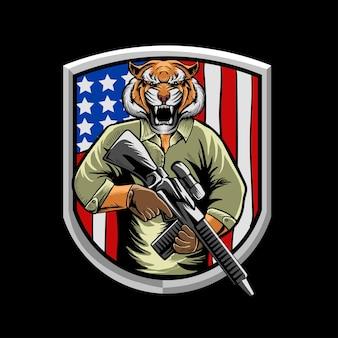 Amerikanischer tiger armee illustrationsvektor