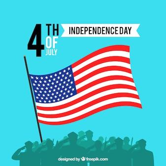 Amerikanischer unabhängigkeitstag mit flagge und soldaten
