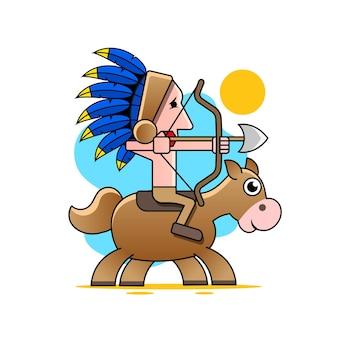 Amerikanischer ureinwohner mit pfeil und bogen. vektor isoliertes zeichen.
