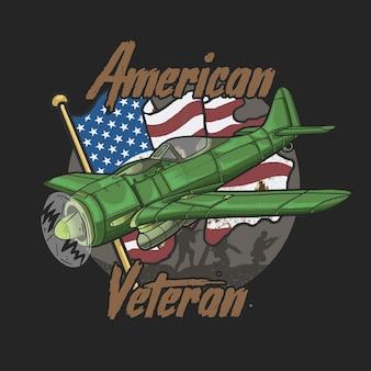 Amerikanischer veteranen-schriftzug mit grünem flugzeug und usa-flagge in der hintergrundillustration