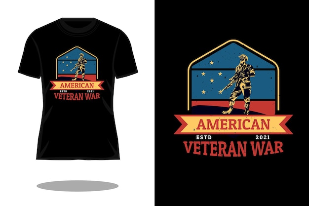Amerikanischer veteranenkrieg im retro-vintage-design